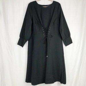 Eloquii Corset Front Black Dress Puffed Sleeves 18